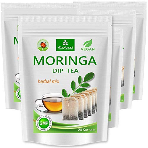 Moringa Tee 100% natürlich & vegan (wahlweise Moringa Blattmischung, Apfel-Zimt, Granatapfel, Ingwer, Minze). MoriVeda (100 Beutel Moringa-Blattmischung; 5x20 Beutel)