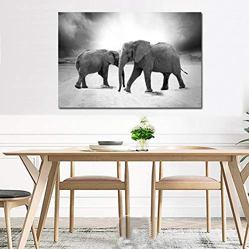 QLCUY HD Cuadro Moderno Imprimir En Lienzo Dos Elefantes Pared Arte Cartel...