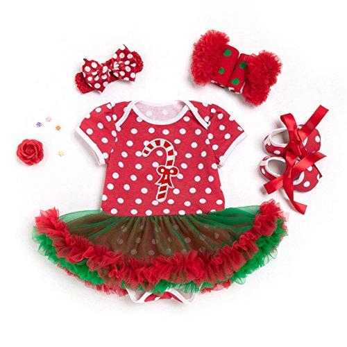 YOSEMITE Baby Mädchen Weihnachten Strampler Kleid Dancing Kleidung Set, Baumwolle, Candy Cane, 12-24 Monate (Candy Cane Tutu)