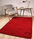 The Rug House Tapis de à Poils Longs - Doux et épais - Couleur vin - 9Tailles Disponibles, Rouge vin, 80 x 150 cm