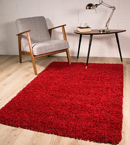 The rug house tappeto shaggy spesso e morbido color rosso vino 9 formati disponibili 60cmx110cm (2ft x 3ft7)