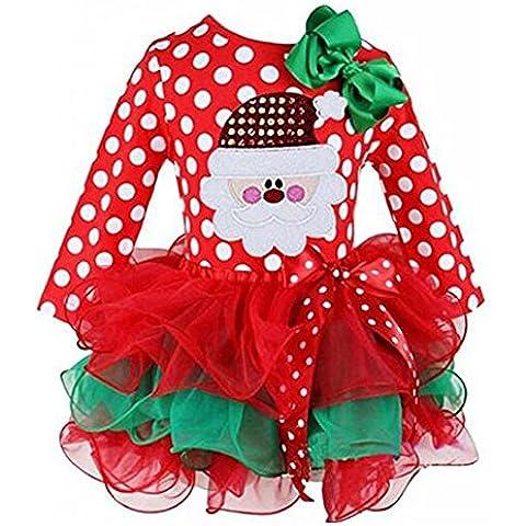 Ohlees Vestido de Navidad Disfraz de Navidad Nuevo bebé niñas niños lunares tul one-pieces Camisa Ropa