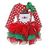 ohlees Noël Costume de Noël robe bébé fille enfant Motif à pois en tulle one-pieces pour vêtements - rouge - 2 ans old