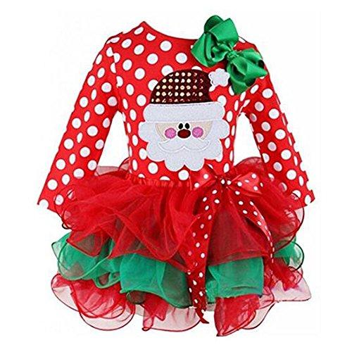 ohlees Weihnachts Kostüm New Weihnachten Kleid Baby Mädchen Kinder Polka Dot Tüll one-pieces Shirt Kleidung Gr. Large, Nr.1 (1 Jahr Alt Baby Mädchen Kostüme)