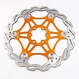 Freno de disco MTB, Bicicleta de Montaña 160mm 180mm 203mm flotante Freno disco rotores compatible con Shimano, Avid, Magura, Hayes, Tektro y muchos más (Oro, 160mm)