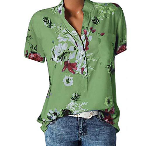 VECDY Damen Oberteile Frauen Tops Sexy Bedruckte Tasche Plus Size Kurzarmbluse Easy T-Shirt Mode Pullover Bluse Sweatshirt Beachwear S-5XL (Grün, 2XL) (Plus Size Mode Der 70er Jahre)