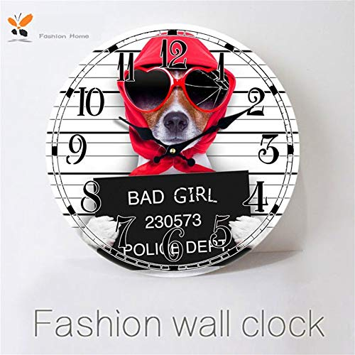 YLCJ Tempo Dekorative Wanduhr im Retro-Stil; Glaswohnzimmer-Uhr Americana Digital mit Netter Bulldoggen-Halle-Wand -