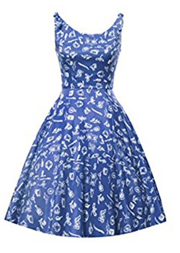 YOGLY Damen Kleide Elegant U-Ausschnitt Blumen VintageKleid Abendkleider Brautkleid Ballkleid Minikleid Cocktailkleid Sommerkleid Partykleider Blau