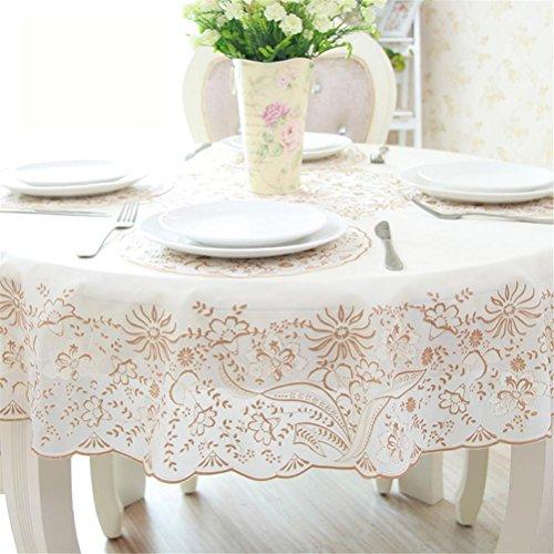 GMM® Tischdecke PVC Tisch rund in europäischen Stil Teppich Wasserdicht Wasserdicht Nicht waschbar Tischdecke aus Spitze weiß Puro geeignet für 60–100Durchmesser A (Zebra-print-teppiche 8x10)