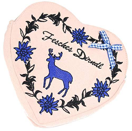 Belli Damen Trachtentasche Herztasche Edelweiss Mei Wiesn´Dascherl Dirndl Tasche Volksfest in Herzform mit Zierschleife und abnehmbaren Riemen - 18x16x2cm (B x H x T) (Rosa)