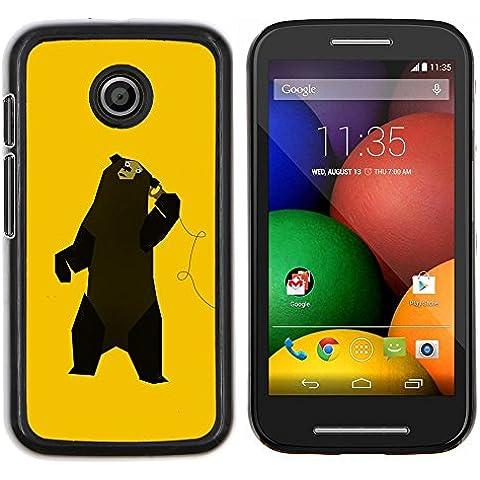 Copertura di plastica Shell Custodia protettiva || Motorola Moto E ( 1st Generation ) || Divertente Musica Dancing Bear @XPTECH
