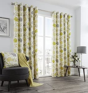 "Printed Floral Leaf Green Grey Cream Lined 46"" X 90"" - 117cm X 229cm Ring Top Curtains from Curtains"