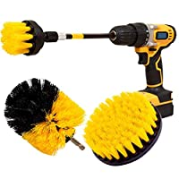 Bggie 4 Pcs Scrubber Cleaning Drill Brush Extended Long Attachment Set for Bathroom Floor Tile