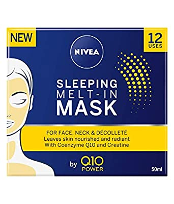 NIVEA Q10 Power Sleeping Melt-In Anti-Ageing Face Mask (50ml), Anti Wrinkle Cream with Powerful Creatine, Leave Full Face Mask On Overnight for Beautiful Looking Skin