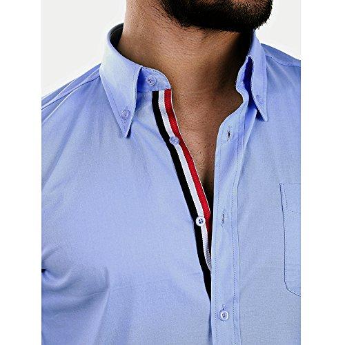 D´Sema Herren Langarm Hemd Slim Fit Casual Freizeithemd Figurbetont Männer Shirt mit gestreifter Knopfleiste Gr. S-XL Hellblau