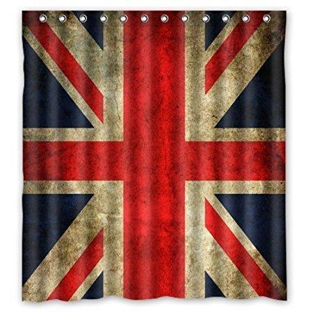 Braun Union Jack (Violetpos Union Jack Flagge Duschvorhang Badezimmer Dekorative 120 x 180 cm)