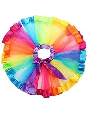 [Sponsorizzato]HaimoBurg Bambine e ragazze Gonne da principessa arcobaleno pannello esterno della garza Balletto Tutù Performances...