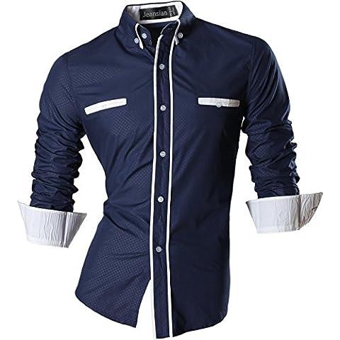 jeansian Gentiluomo Uomini Camicie Moda Design Uomo Camicie Tempo Libero Slim Collare Shirts Z025