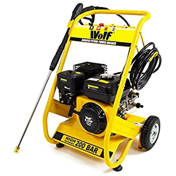 Wolf 3000psi Petrol Pressure Washer 200bar 6.5HP 4-Stroke Power Jet + 4 Quick Fit Release Nozzles