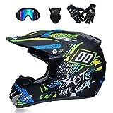 Casque Motocross Adulte Off Road Dot Dirt Bike Moto VTT VTT VTT Casque intégral Casque Complet MX Offroad/Masques/Masque/Gants (Style 6),blackQQ,M