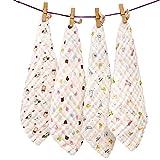 EXQULEG natürliche Baumwolle Musselin Baby-Handtuch Mode Cartoon Druck Handtücher Gesicht Handtuch für neugeborene Babys 30 * 30cm (4 Stück)