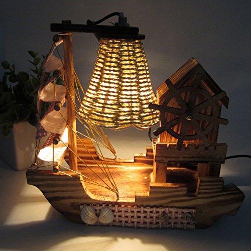 SQDTNSLT-moda barca a vela lampada il mulino a vento di legno music box creative Wood Green luce notturna home creative ornamenti artigianali - Artigianale Di Vetro Ornamento