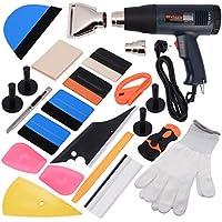 Ehdis 16 Types de kit de Teinte de fenêtre d'outils pour Vinyle d'emballage pour Voiture avec Pistolet Thermique à Affichage LCD