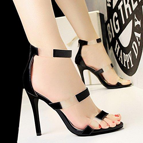 LGK&FA Un Simple Bouton Percé Orteil DUn Amende Rome Tous-Match Female High-Heeled Sandals 35 black