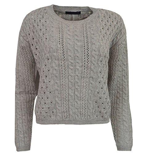 Maglia da donna in maglia con girocollo e bottoni a maniche lunghe Grigio