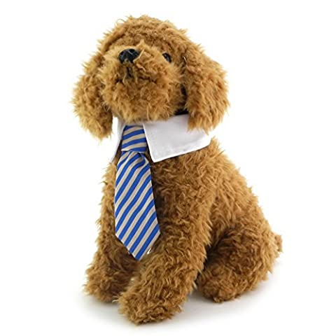 SMALLLEE_LUCKY_STORE Twill Cotton Tie Small Dogs Cats Costume Puppy Tie Neck Tie Gentleman Necktie for Boy Girl Striped Tie Collar Blue S