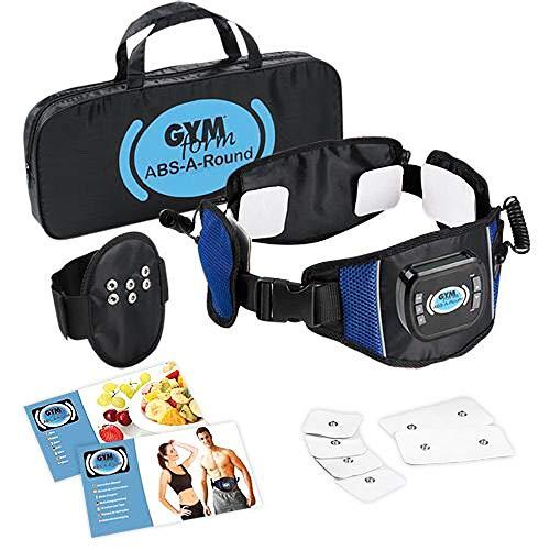 Gymform ABS A Round - Digitaler Muskelstimulatorgürtel mit 99 Intensitätsstufen, 6 Programmen und 594 Routinen! 3 Kanäle und 6 Elektronen - trainieren, tonen und festigen Ihren Körper - 0016