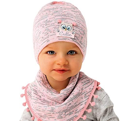 generisch AJS Baby Mädchen Kindermütze Mütze Halstuch mit Baumwolle Frühling Sommer Rosa Grau ab 6 Monat bis 1,5 Jahre hergestellt in der EU Farbe Aprikose