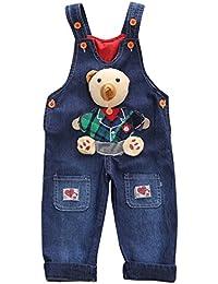 Happy Cherry - Pantalón Vaqueros con Peto Pantalones Denim Bib Overall Ropa de Una Pieza Mono Estampado Animado para Bebé Niños Niñas - 68-72cm(6-18meses)