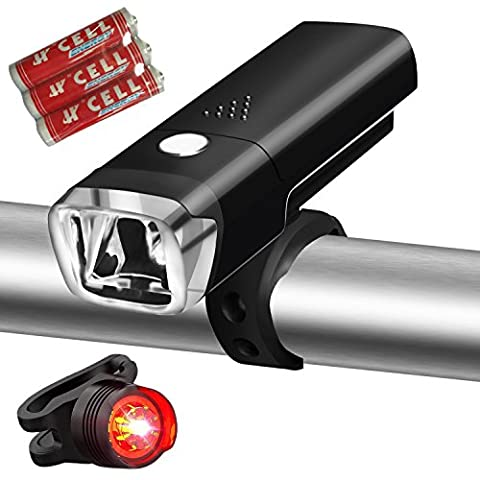 Bike Lights, Akale Super Bright Bike light set, Mountain Bike Light, 3 Light Modes, Cycle Lights LED bike light, 600lm, Water Resistant, Easy to Mount Headlight front bike light with Back Tail light - Led Luce Posteriore Della Bicicletta