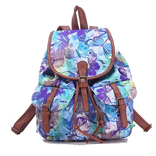 Sammua Mädchen Retro Flower Floral Rucksack Leinwand Umhängetasche Schul Bookbag mit Kordelzug Lederschnallen Lässige Daypack - Schmetterling -