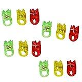 com-four 12x LED Finger-Ringe aus Gummi mit blinkendem Farbwechsel in Verschiedenen Farben [Auswahl variiert] (12 Stück - Gummi Krone)