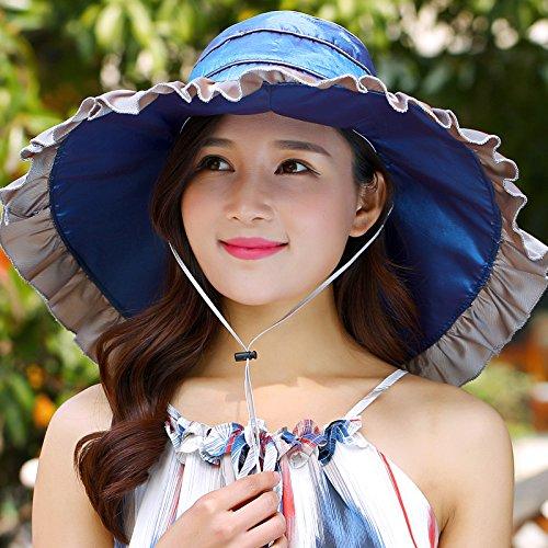ZHANGYONG*Massimo lungo la visiera estate dei bambini la signora Marea estate spiaggia cap UV-fold CAPPELLI (Signore Blu Visor)