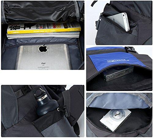niceEshop(TM) 36-55L Wasserdicht Interne Rahmen Rucksack Daypack Wanderrucksack für Männer und Frauen Blau Rucksack