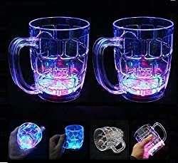 A2Z Unbreakable Glass Beer Mug With Disco Led Lights - 350 Ml With Hand Shape Led Keychain (Pack of 2 Beer Mug)