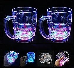 A2Z, LED Magic Glass Beer Mug, 350 ML & Free Hand Shape LED Keychain (Pack of 2)