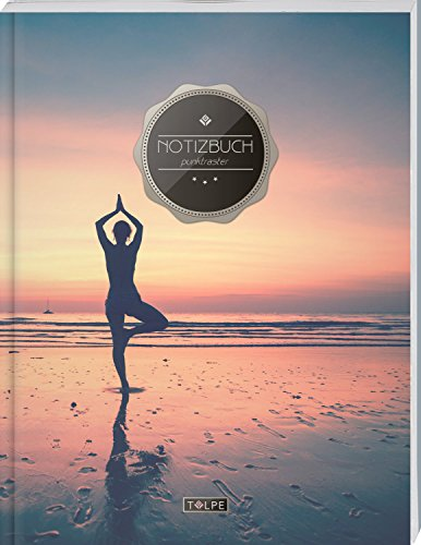 """TULPE Punktraster Notizbuch A4 """"C139 Yogaübung"""" (140+ Seiten, Vintage Softcover, Punktkariertes Papier - Bullet Journal, Dickes Notizheft, Skizzenbuch, Tagebuch, Gepunktete Seiten, Dot Grid Notebook)"""