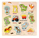 Grsafety Holz Tier Puzzle Spielzeug Baby Kinder Kinder Bildung Lernkarten Kognitive Board