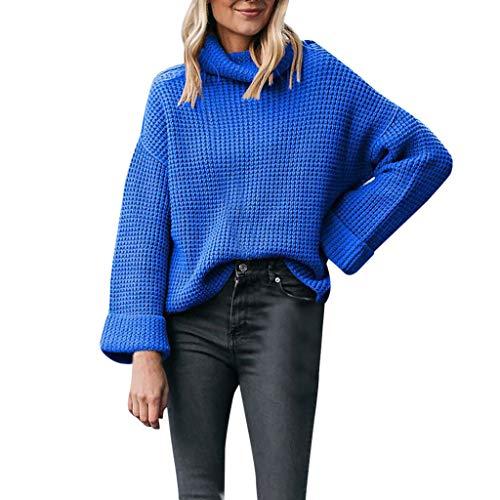 KIMODO Pullover Damen Frauen Langarm Starke Hoher Kragen Nadel Sweater Sweatshirt Einfarbig Lose Langarmshirts Slim Fit Bluse Oberteile (Blau, XL) (Aus Interlock Nadel)