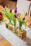 Vase aus Holz von Obstkiste zur Hochzeit, Geburtstag als Geschenk, 3 x Saftflasche/Glasflasche/Milchflasche, Handgemacht, Landhaus, Vintage, Upcycling