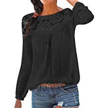 8482a34f769184 KIMODO Bluse Damen Langarm Shirts Damen Top Oberseiten Spitze Patchwork  Blusen Mode XXL Schwarz Weiß Blau