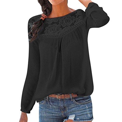 ng Sommer Top Bluse Bequem Lässig Mode Frauen beiläufige Lange Hülse Spitze Patchwork Tops Bluse(Schwarz, S) ()