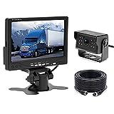 Caméra de recul pour Voiture Camecho + Kit Moniteur LCD 7'TFT 12V - 24V Kit de système de Parking pour caméra de Vision Nocturne étanche pour Bus/remorque/fourgonnette/Camion/Camping-Car