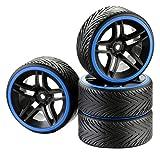 ABSIMA 2510051 - RC Car Räderset Drift 10-Speichen Profil A Felge Ring 1:10, 4 Stück, schwarz/blau