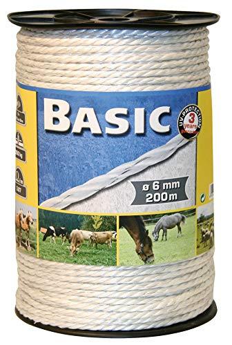 Kerbl Basic PE-Seil, Weidezaun Elektroseil Elektrozaun Kordellitze 6mmx200m Weiß