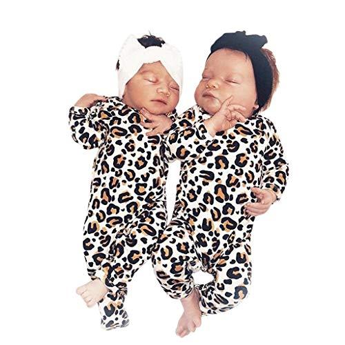 Baiomawzh Strampler Neugeborenen Baby Mädchen Junge Für (0-12M) Unisex Outfits Kleinkind Baumwolle Leopard Druck Lange Ärmel Baby Toddler Hohe Qualität Bequemer Spielanzug Bodysuit - Leoparden-strampler